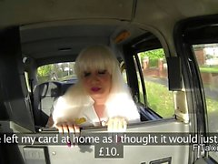 Tattooed shaved cunt blonde banged in fake taxi