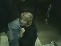 Teen GF public BJ elevator publicflashing