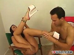 Dirty Teen Having Her Feet Worshipped
