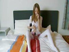 Amazing super bony girl in white socks