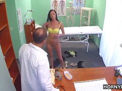 Horny doctor bangs her patient