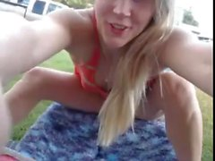 Girl cams in front yard