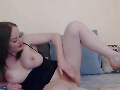 Busty French Babe Rides her Toy