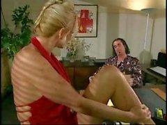Hot blonde secretary T.J. Hart blows the bosses cock at the desk