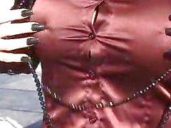 Satin mature in satin an pantyhose outdoor