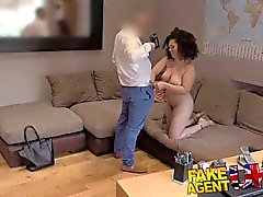 FakeAgentUK Sticky facial for chick with big boobs in UK casting