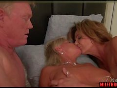 Brunette milf threesome and cumshot