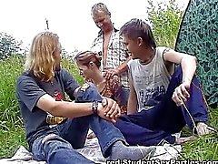 Three guys and one chick