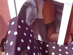 Polkadot Dress Black Nylon Stockings