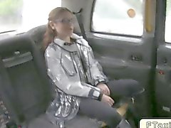 Australian babe fucks in British taxi