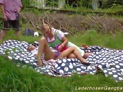 outdoor lederhosen gangbang orgy