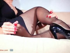 black fishnets and heels[]P