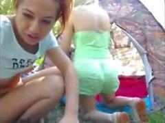 Two girls camping fun
