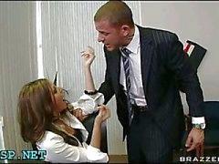 Man drilling petite secretary