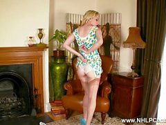 Blonde babe Chloe Toy strips off pretty white lace panties and wanks in delicate sheer nylons