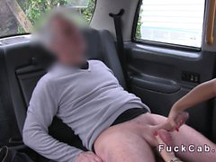 Blonde in pantyhose banged in fake taxi