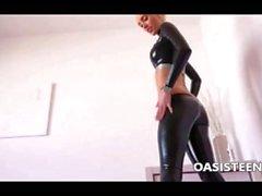 Blonde girl in latex pants