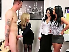 Domina trio sucking cock