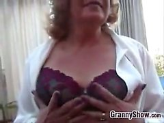 Chubby Grandma Masturbates With Her Toy