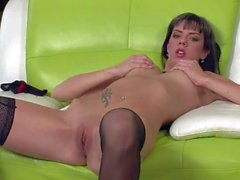 Smooth pussy Brunette Mellie in nylon stockings