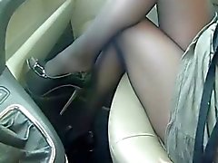 collant in auto, bas en auto, tights in cars