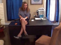 Busty boss makes her blonde secretary worship her sexy feet