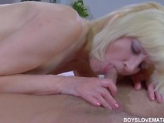 Blond russian mature fucked by her younger lover