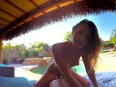 Attractive teen bounces on fat prick by the pool POV