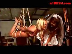 Blonde Girl Hanging In Bondage Tortured With Clips Pussy Fingered And Stimulated With Vibrator By Mistress In Wedding Dress In The Factory