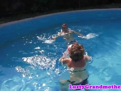 Chubby mature pounded after swimming