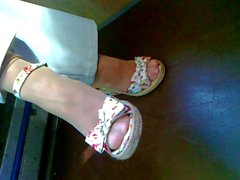 Mature feet in shoes CANDID