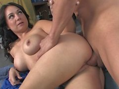 Brunette whore with huge tits deep throats a hard cock then fucks