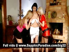 Superb brunette and blonde lesbians kissing and nipples licking and having lesbian orgy
