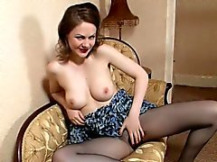 Brunette Mylie Teases With Her Pantyhose