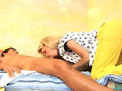 Petite Blonde Eva Giving BF An Oral