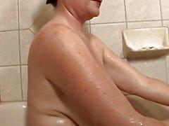 Amazing Mature Takes a Bath