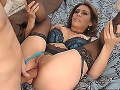 Stunning brunette MILF Raylene crashes party looking for big-cock
