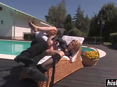 Bridget Jolie gets freaky by the pool