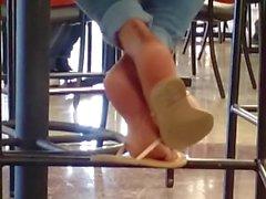 Candid Beautiful Ebony Feet in Cafeteria 3