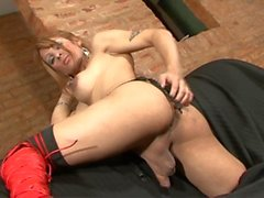 Filling her ass with cock