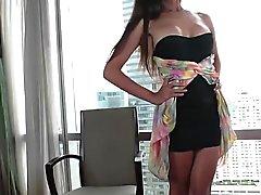 Thai ladyboy Name caresses her big dick