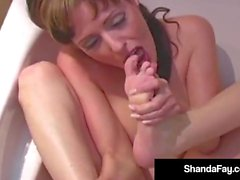 Horny Housewife Shanda Fay Foot Fucks With Pink Painted Toes