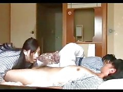 Asian Girl In Kimono Giving Handjob Cum To Mouth Going To The Next Room Riding On Guy Cock On The Mattress