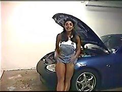 Indian pornstar Angela Devi strips on a hot car