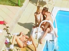 Three chicks secret banging by the pool