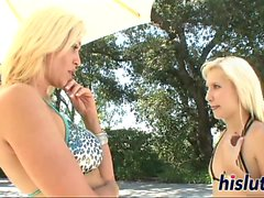Two blonde bitches finger their juicy cunts