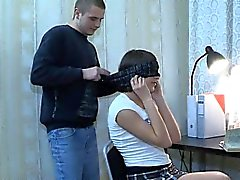 Cute gf blindfolded and fucked by her BFs pervert buddy