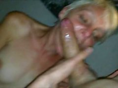 Skinny Blonde MILF Gets a Facial