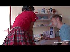 Deep analizing of a Busty french brunette in schoolgirl uniform jizzed on stomac
