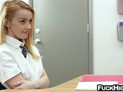 Schoolgirl flashes beaver and fucks teacher on his desk